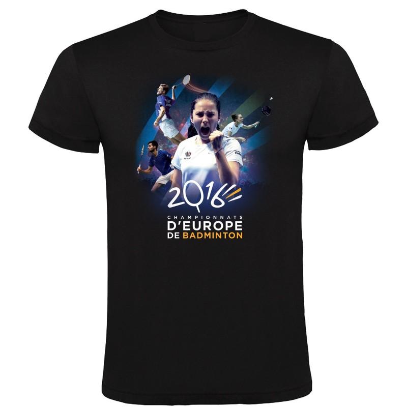 T-shirt Affiche Championnats d'Europe Badminton 2016 Noir
