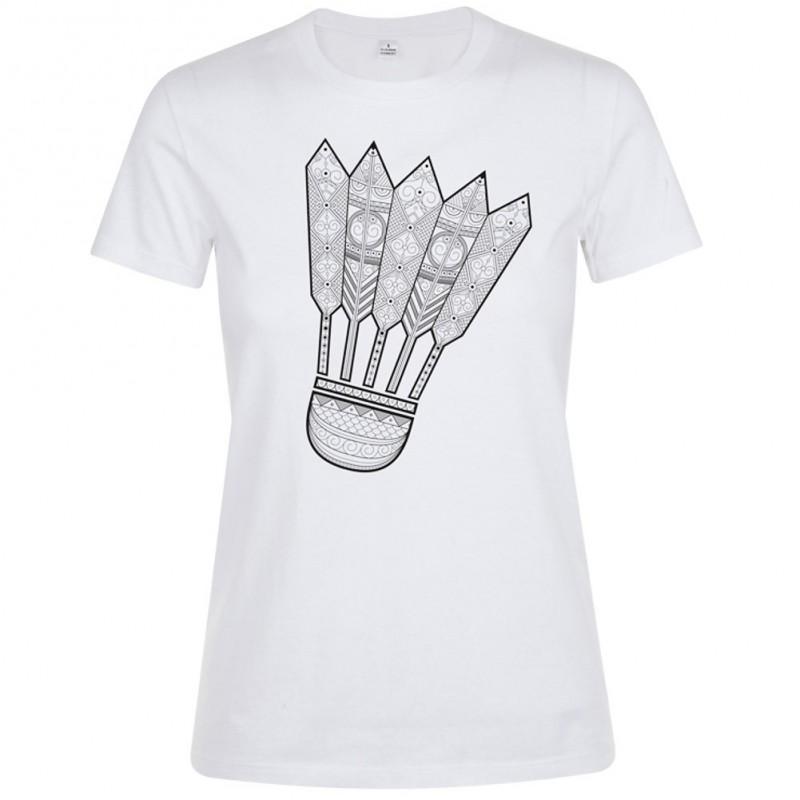T-shirt femme volant Mandala Badminton Blanc