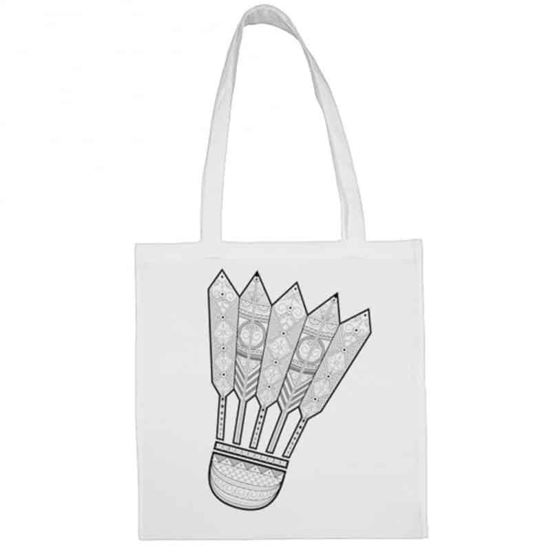 Sac shopping Volant Mandala Badminton Blanc